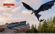 black winged dragon flying