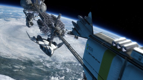 long space ship orbiting a planet