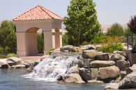 waterfall at a fountain with gazebo