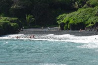 black sand beach ocean surf