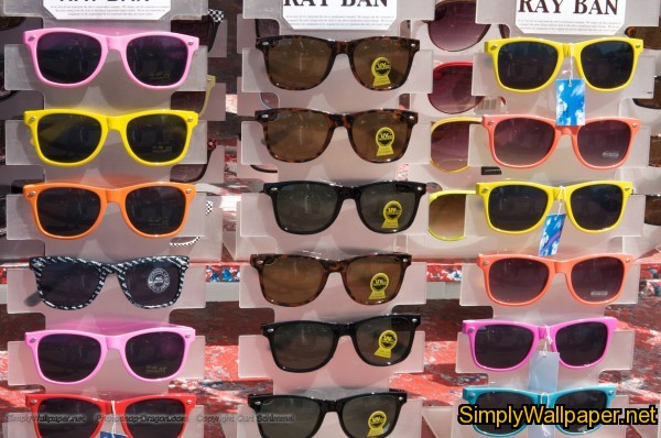 rack of sunglasses