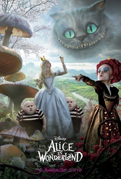 white queen, red queen and cheshire cat from alice in wonderland