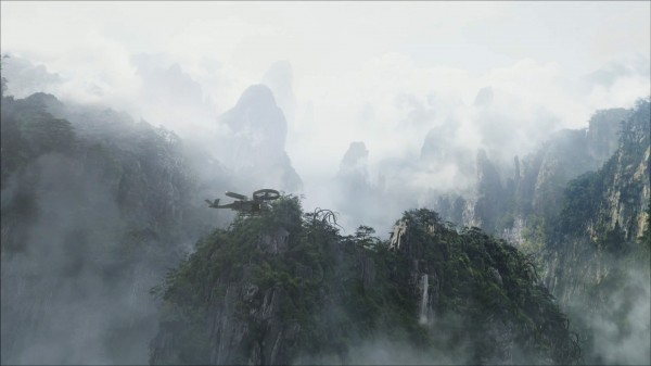 helicopter flying over Pandora landscape