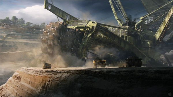giant mining machine in strip mine on Pandora