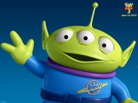 one of the little green men aliens from toy story