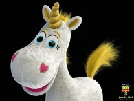 buttercup the plush white unicorn toy from toy story 3