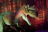 bipedal predator dinosaur with many sharp teeth, large head and long tail