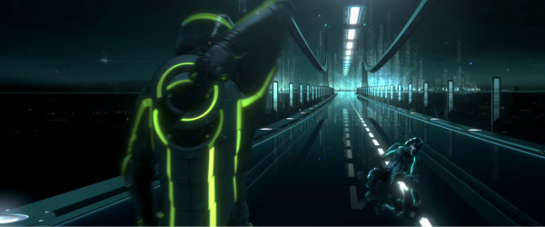 two light cycle riders on a bridge inside the world of tron legacy