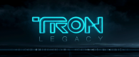 tron legacy movie logo over a city horizon