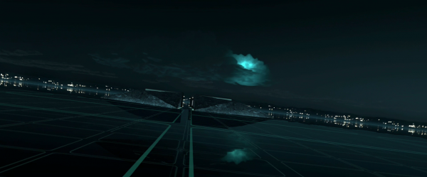 view of the landscape and horizon in the world of tron legacy