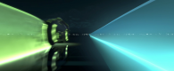 two light cycles race by from the world of tron legacy