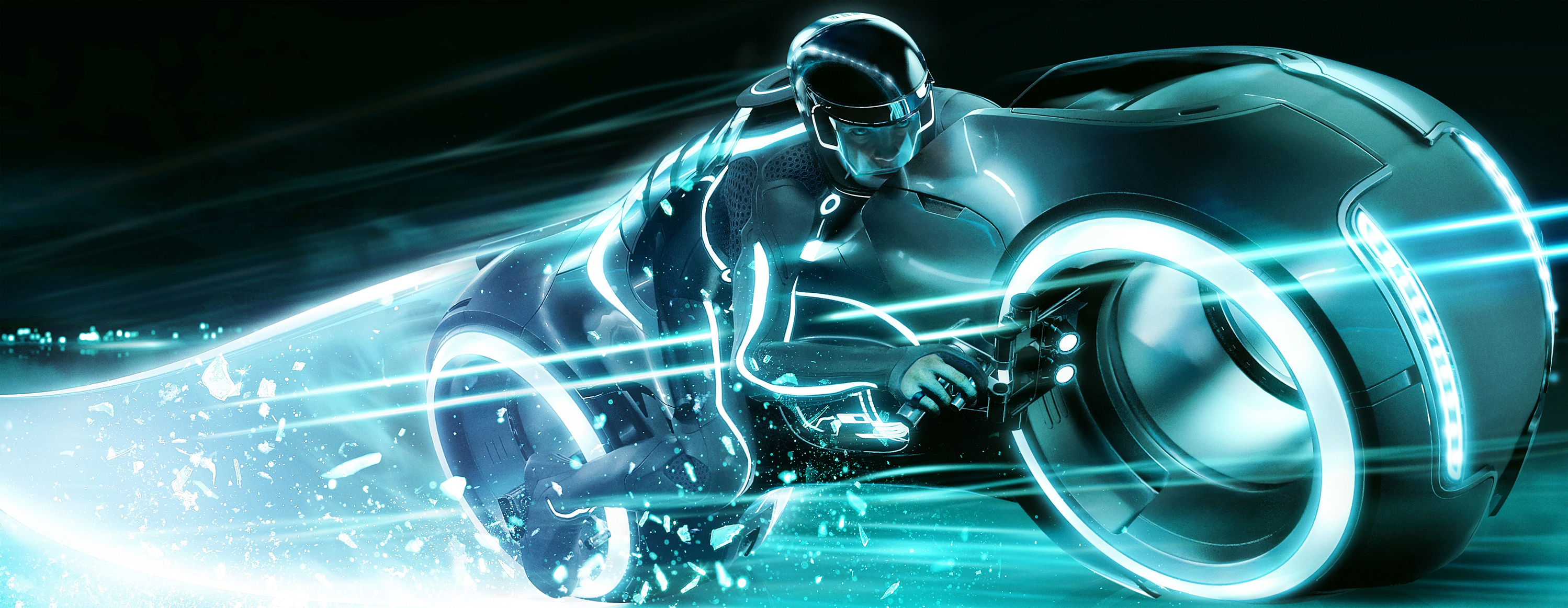 speeding light cycle from tron: legacy desktop wallpaper
