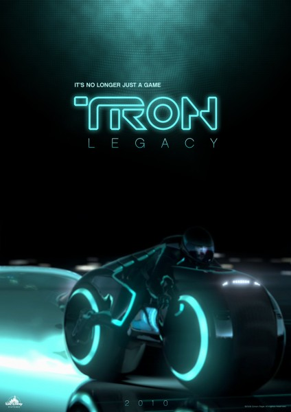 a tron legacy movie poster showing a light cycle speeding by