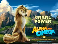 Kate the brown and white wolf from the movie Alpha & Omega