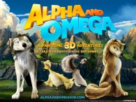 Two wolves, Humphrey and Kate along withe a goose and a duck from the movie Alpha and Omega