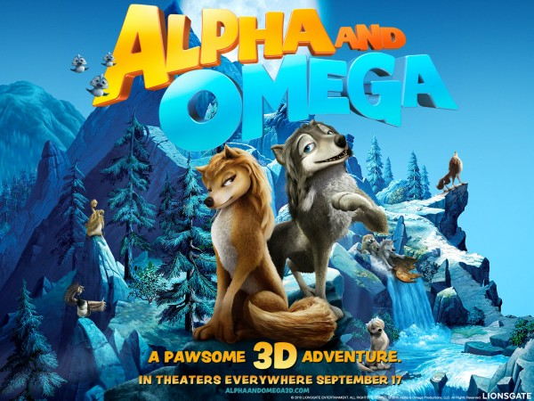 Two wolves, Humphrey and Kate, appear on a scenic background from the movie Alpha and Omega