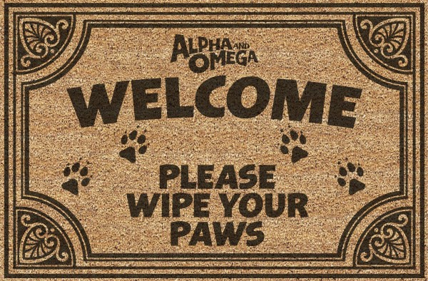 a doormat style image that says welcome please wipe your paws