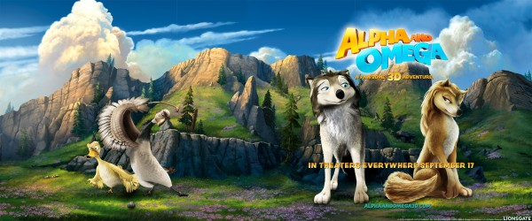 Kate and Humphrey, two wolves from Alpha and Omega on a scenic landscape