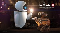 two robots, Wall-E and Eve, from the Disney Pixar movie Wall-E