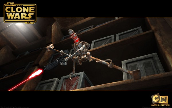 wallpaper image of an assassin droid about to attack