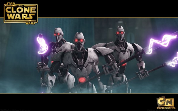 wallpaper image of the magnaguard fighting driods from the clone wars
