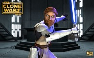 wallpaper image of jedi master obi wan kenobi holding a light saber from the clone wars series