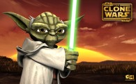 wallpaper picture of jedi master joda holding a light saber from the clone wars series