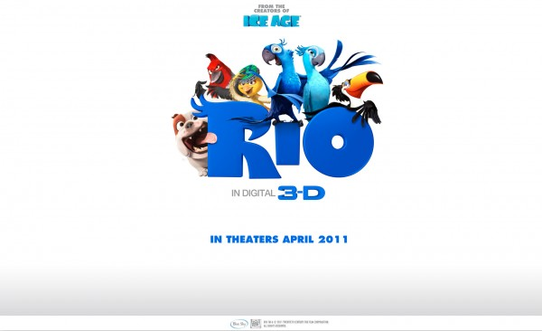 wallpaper picture of the cast of the animated movie Rio featuring birds and a dog