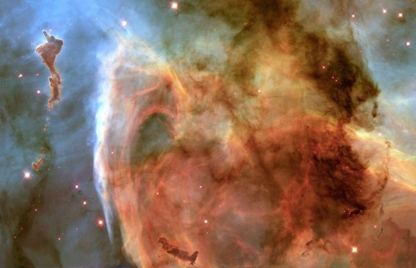 hubble space telescope image of a glowing nebula in space