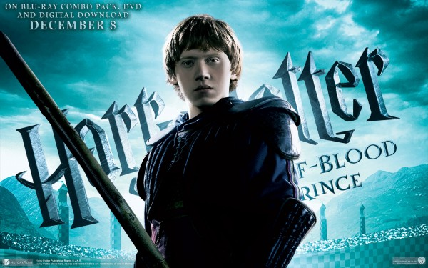 ron weasley holding broom from half blood prince wallpaper