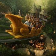 concept art of the flight of the hippogriff roller coaster