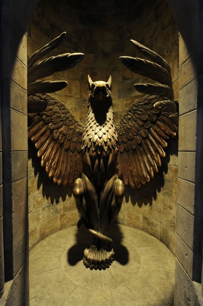 griffin statue on the way to Dumbledore's office