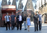 cast of Harry Potter in Hogsmeade