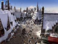 view of the town of hogsmeade
