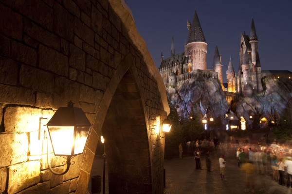 view of hogwart's castle at night
