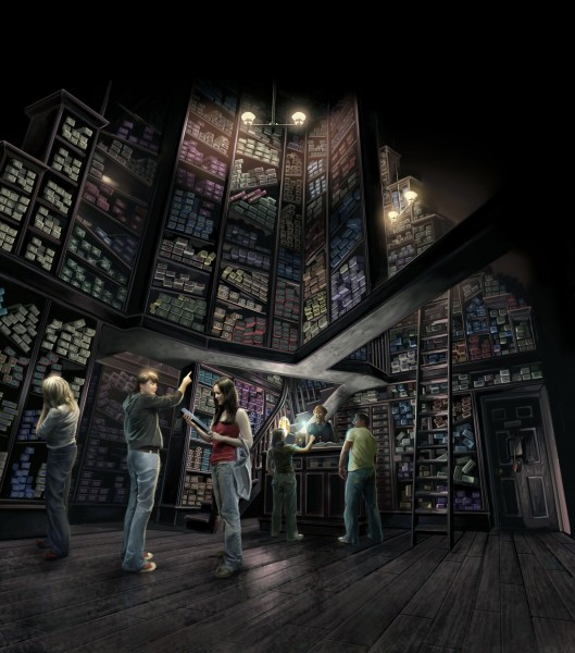 curios ship with small boxes on shelves stacked to the ceiling