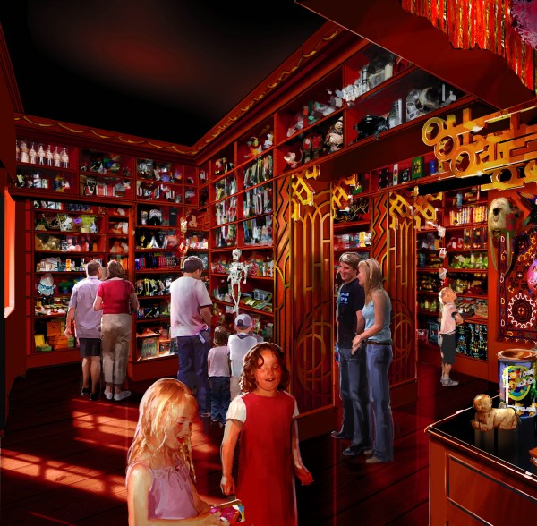 interior of Zonko's Joke Shop early concept rendering