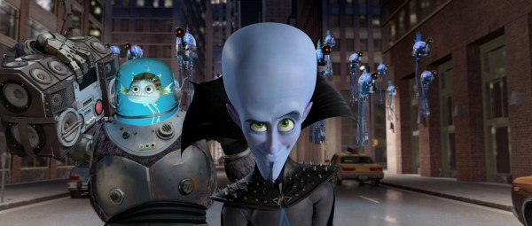 Megamind the blue alien super villain and his fish friend Minion