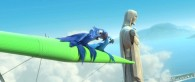 Blu and Jewel the macaws riding on a hang glider in a scene from the movie Rio
