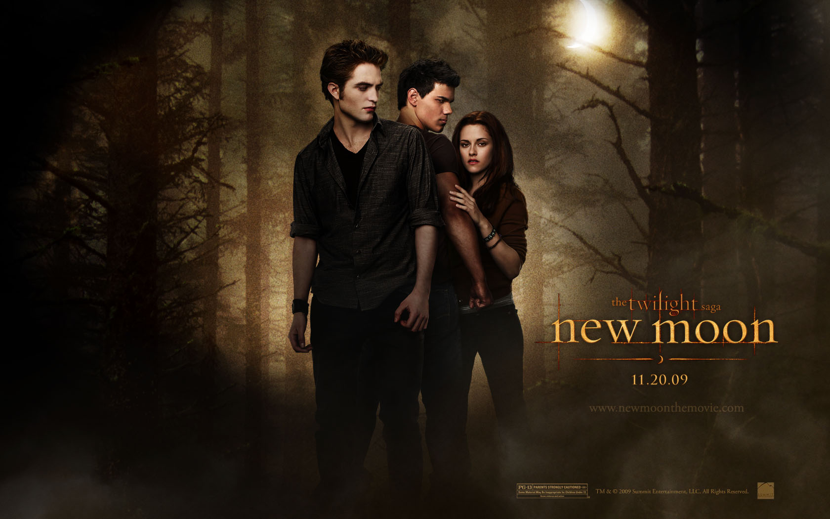 twilight new moon: bella, edward and jacob desktop wallpaper
