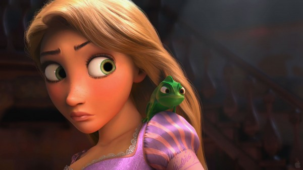 Pascal the chameleon from the Disney movie Tangled on Rapunzel's shoulder