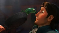 Pascal the chameleon from the Disney movie Tangled as he looks at Flynn