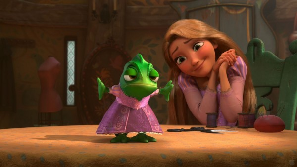Pascal the chameleon from the Disney movie Tangled with Rapunzel