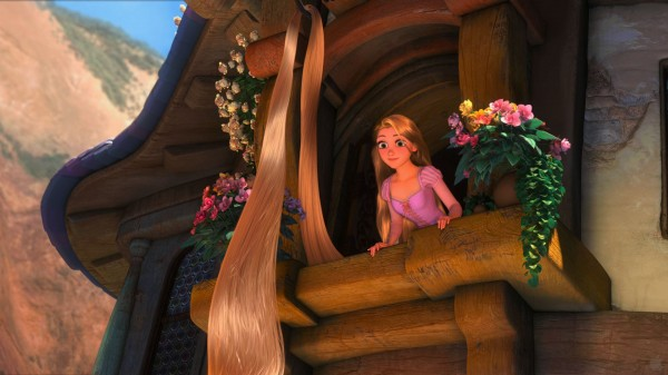 Rapunzel at her tower window from the DIsney movie Tangled