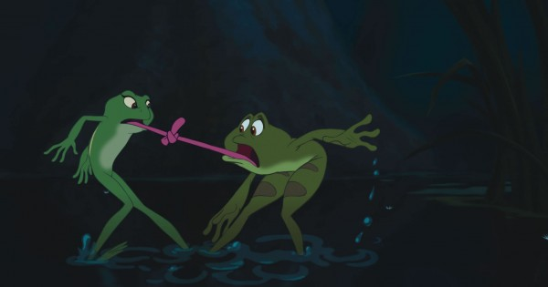 Prince Naveen and Tiana as a frogs with their tongues tied together from Disney's Princess and the Frog movie wallpaper