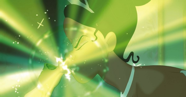 Prince Naveen as a frog kissing Tiana from Disney's Princess and the Frog movie wallpaper