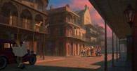 a street scene in the French Quarter of New Orleans from the Disney movie Princess and the Frog wallpaper