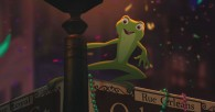 Tiana as a frog on a street sign from the Disney movie Princess and the Frog wallpaper