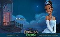 Tiana poses in her princess gown from the Disney movie Princess and the Frog wallpaper