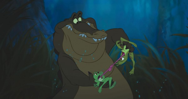 Tiana and Naveen along with Louis the gator from the Disney movie Princess and the Frog wallpaper